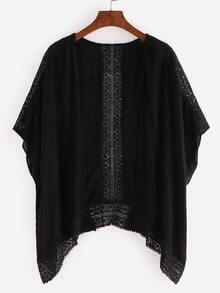 Black Crochet Hollow Out Kimono