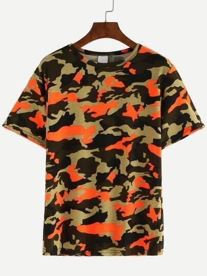 Multicolor camo print casual t shirt shein sheinside for Camo print t shirt
