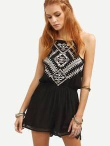 Black Embroidered Lace Up Crochet Split Romper