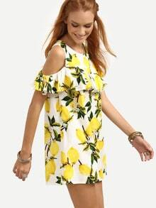 Open Shoulder Ruffled Lemon Print Dress - Yellow