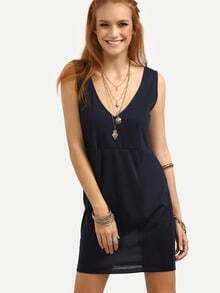 Double V-Neck Sleeveless Dress - Navy