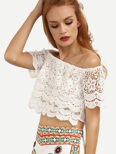 Off-The-Shoulder Crop Lace Chiffon Top - White