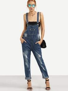 Distressed Stone Wash Blue Overall Jeans