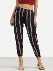 Navy Vertical Stripe Print Peg Pants