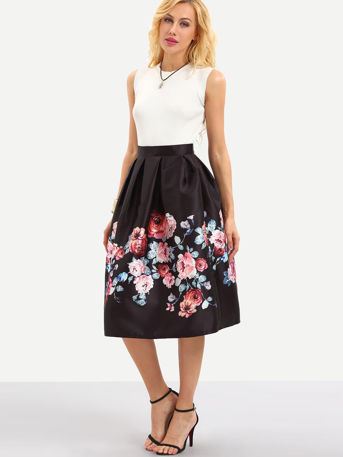 Flower Print Box Pleated Midi Skirt - Black -SheIn(Sheinside)