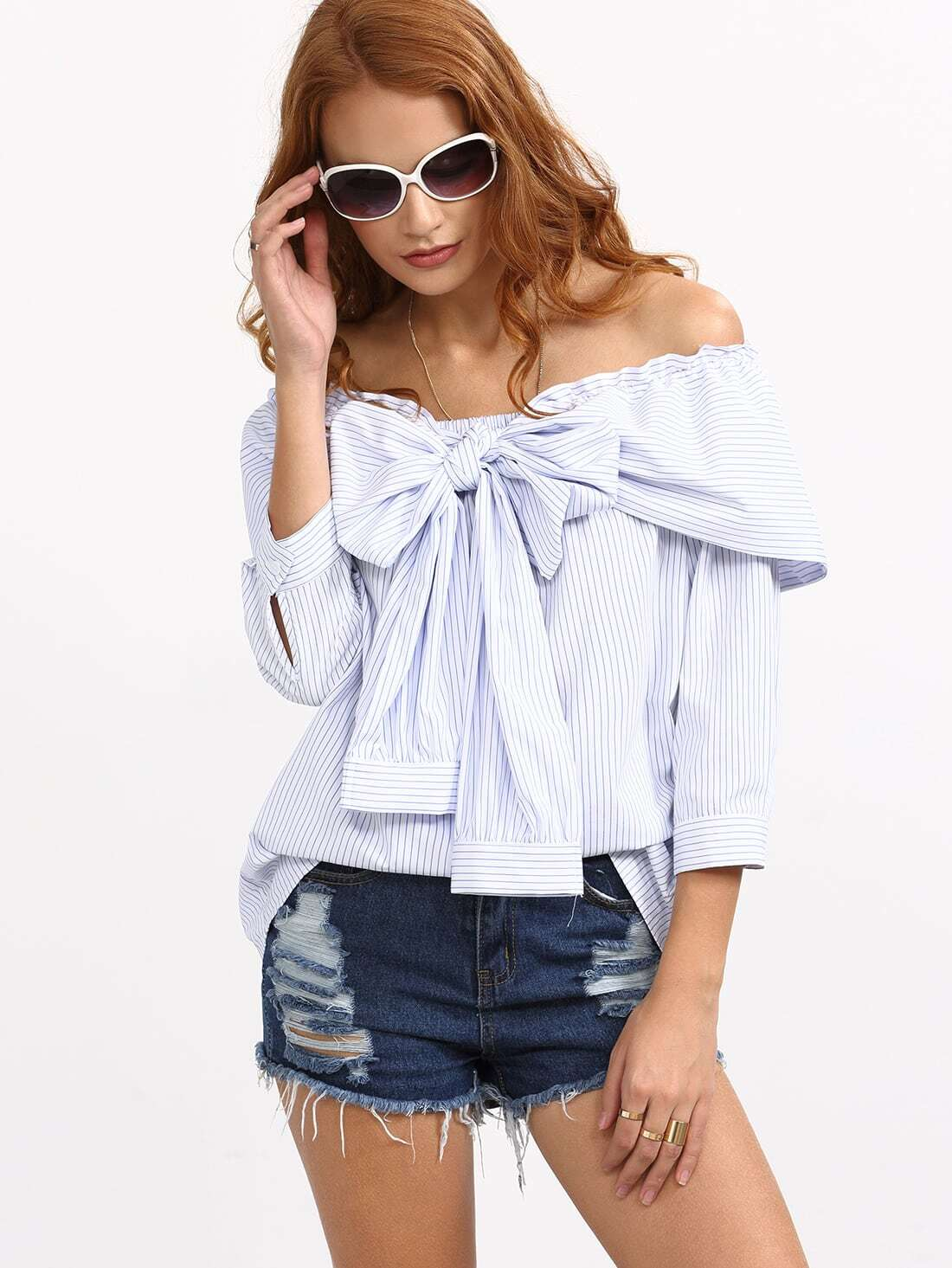 striped frill bow off shoulder blouse shein sheinside. Black Bedroom Furniture Sets. Home Design Ideas