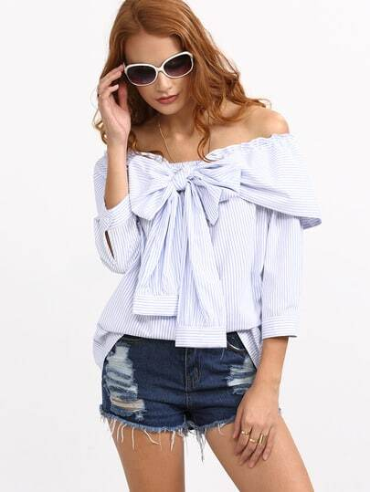 Blue Striped Bow Off The Shoulder Blouse