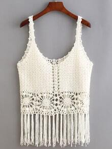 White Hollow Fringe Tank Top