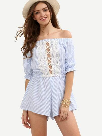 Blue Striped Boat Neck Hollow Lace Jumpsuit
