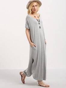Grey Short Sleeve Pocket Split Side Dress