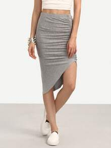 Grey Pleated Asymmetrical Skirt