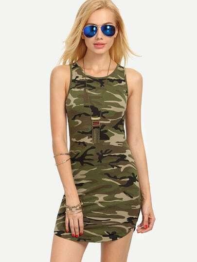 Multicolor Camouflage Sleeveless Bodycon Dress