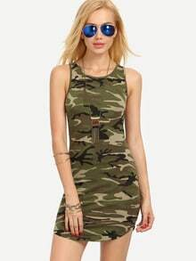Multicolor Camouflage Sleeveless Bodycon Dress