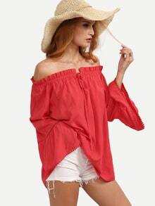 Red Boat Neck Bell Sleeve Tie Ruffle Blouse