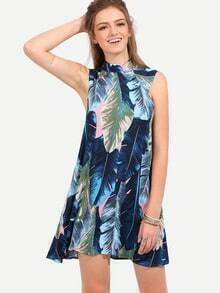 Multicolor Leaves Print Sleeveless Dress