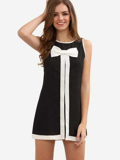 Black Bow Sleeveless Shift Dress