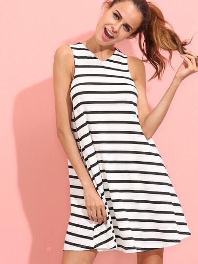 Black and White Striped Sleeveless V Neck Dress