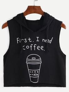 Hooded Coffee Cup Print Sleeveless Black Dip Hem Top