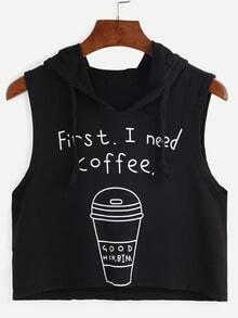 Hooded Coffee Cup Print Sleeveless Black Dip Hem Top