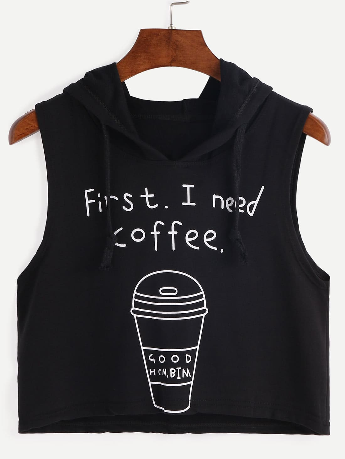 Hooded Coffee Cup Print Sleeveless Black Dip Hem TopHooded Coffee Cup Print Sleeveless Black Dip Hem Top<br><br>color: Black<br>size: one-size