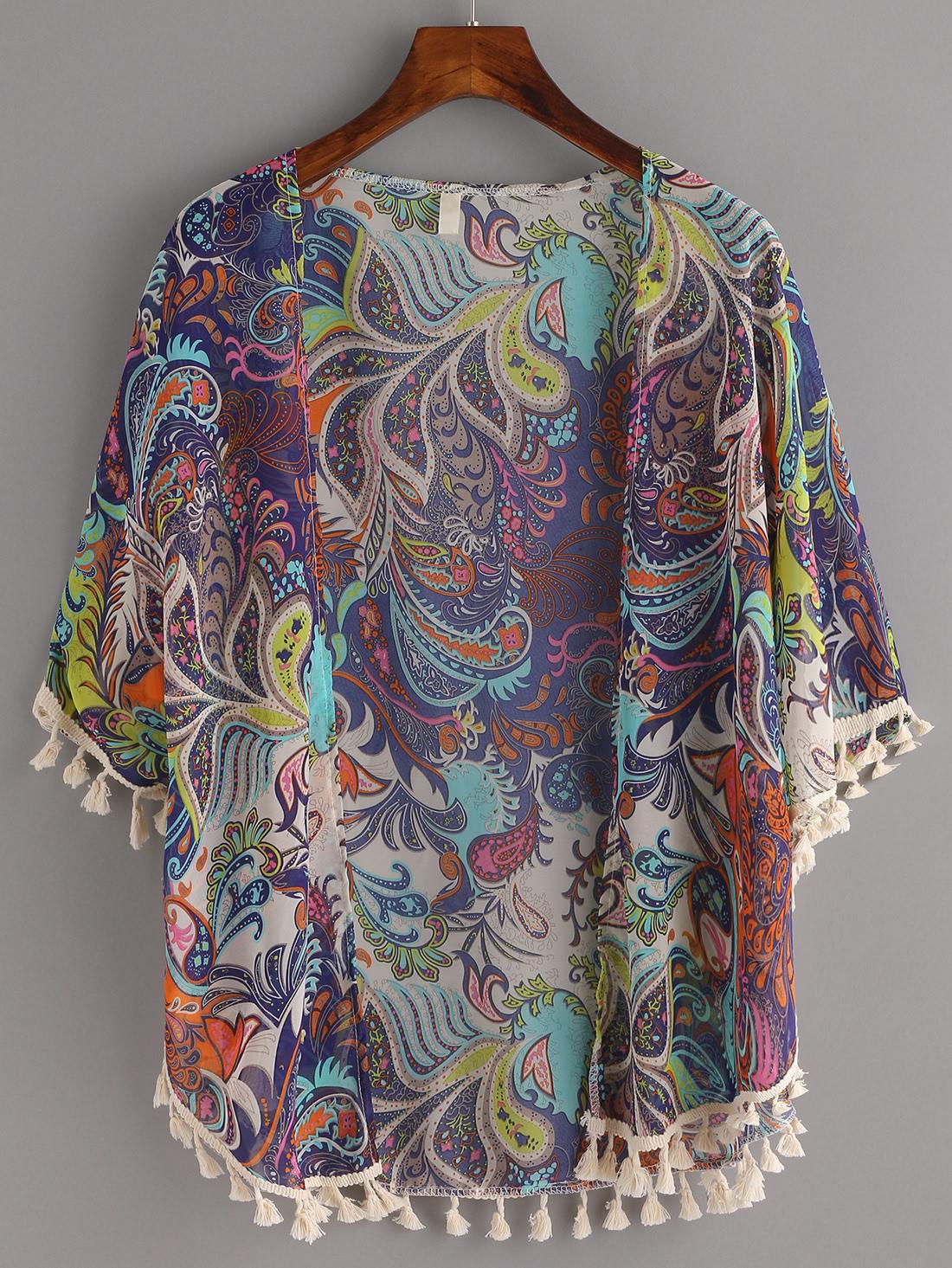 Стильное кимоно с этническим принтом с бахромой