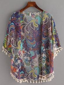Kimono flecos paisley -marino