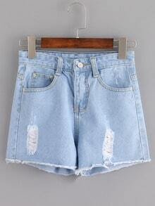 Short en denim déchiré - bleu