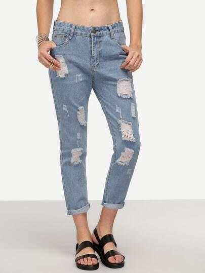 Light Blue Ripped Denim Cuffed Pants