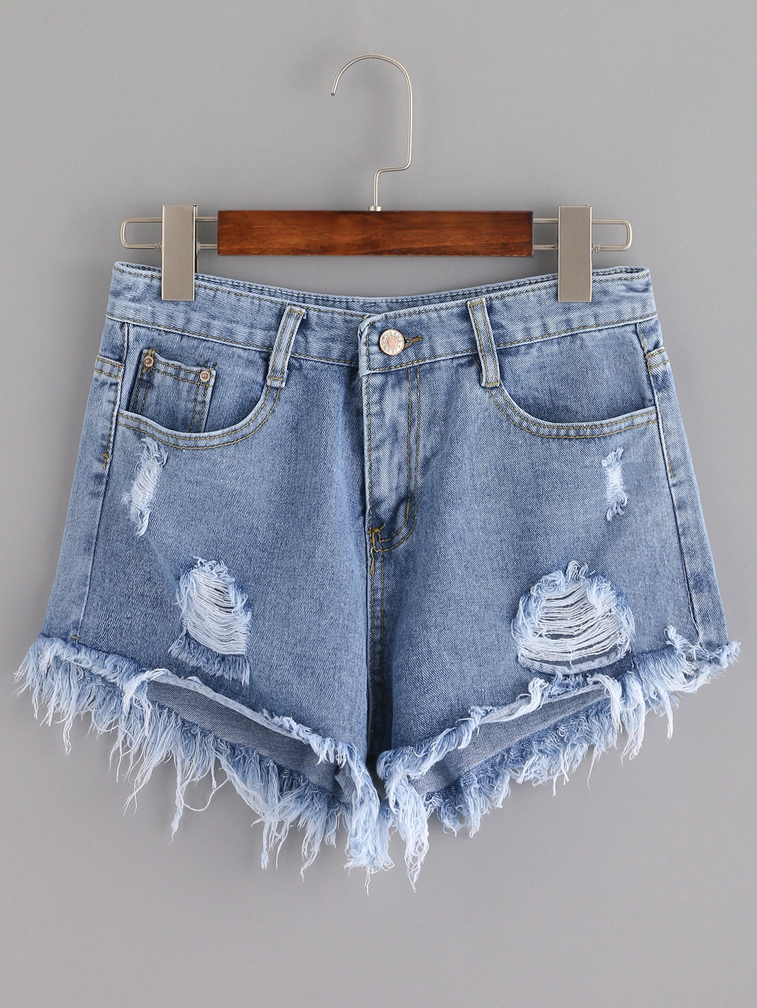 Distressed Tassel Denim Shorts thumbnail