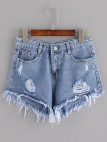 Distressed Tassel Denim Shorts -SheIn(Sheinside)