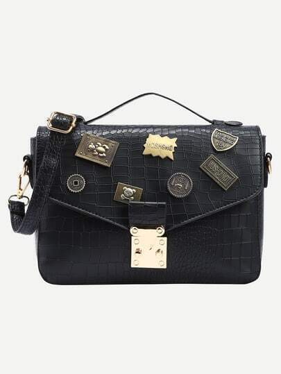 Crocodile Embossed Charm Embellished Flap Bag - Black