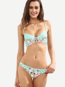 Tribal Print Push-Up Bikini Set - Mint Green