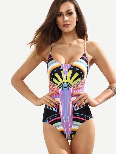Multicolor Tribal Print Lace-Up One-Piece Swimwear