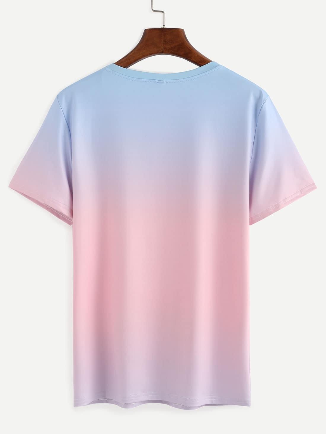 ombre dip dye t shirt shein sheinside