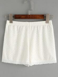 Elastic Waist Flower Lace Shorts - White