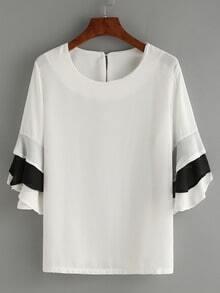 Ruffled Tiered Sleeve Chiffon Blouse - White