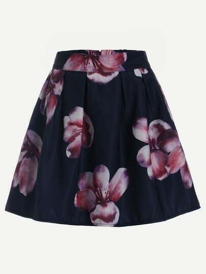 Flower Print Box Pleated Flare Skirt - Navy
