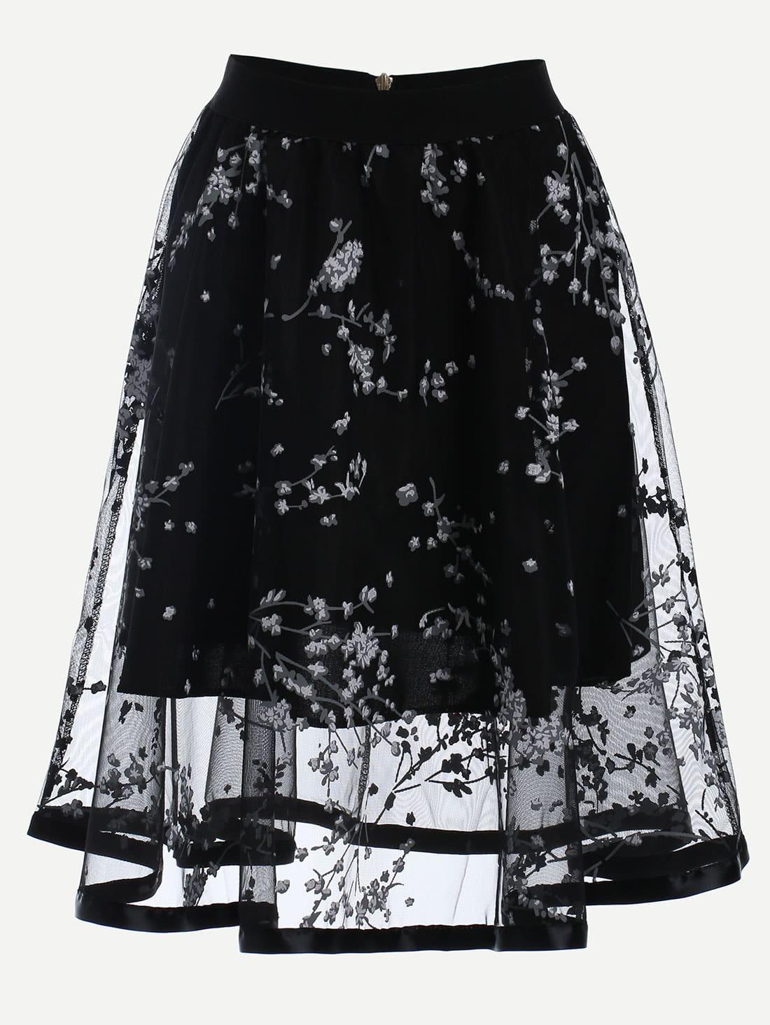 Фото Blossom Print Mesh Overlay Midi Skirt - Black. Купить с доставкой