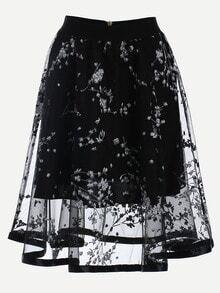 Blossom Print Mesh Overlay Midi Skirt - Black