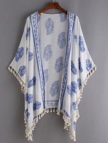 Kimono Stampato Rifilato Nappa - Bianco