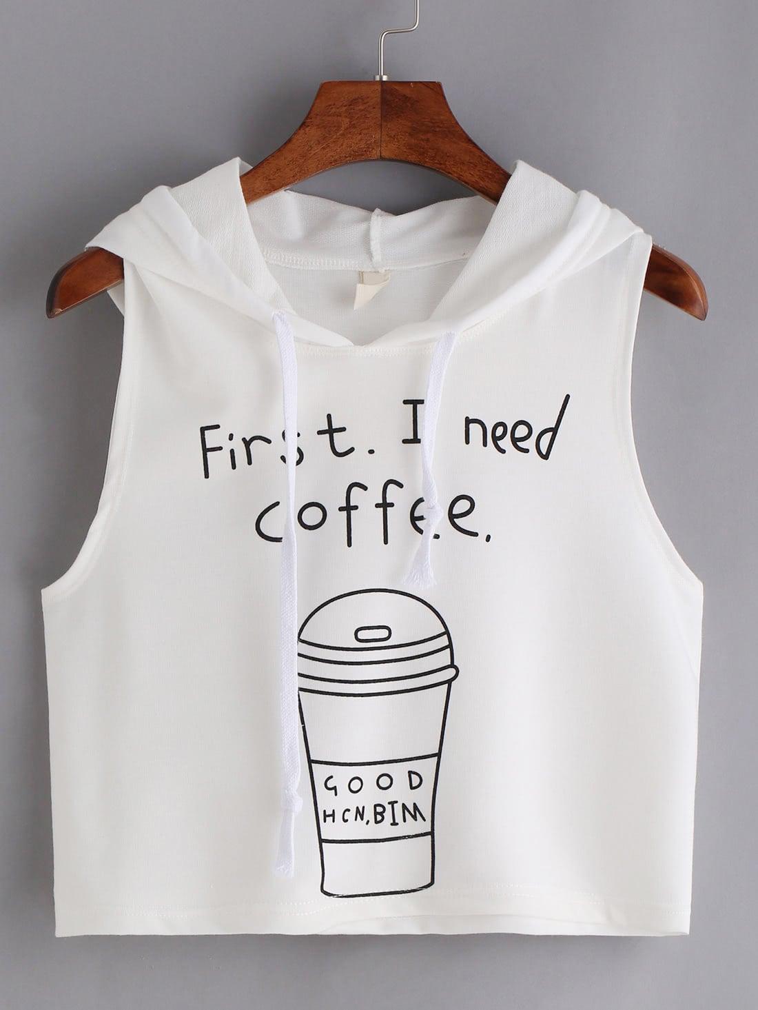 Coffee Print Hooded Crop Tank Top - White vest160602044
