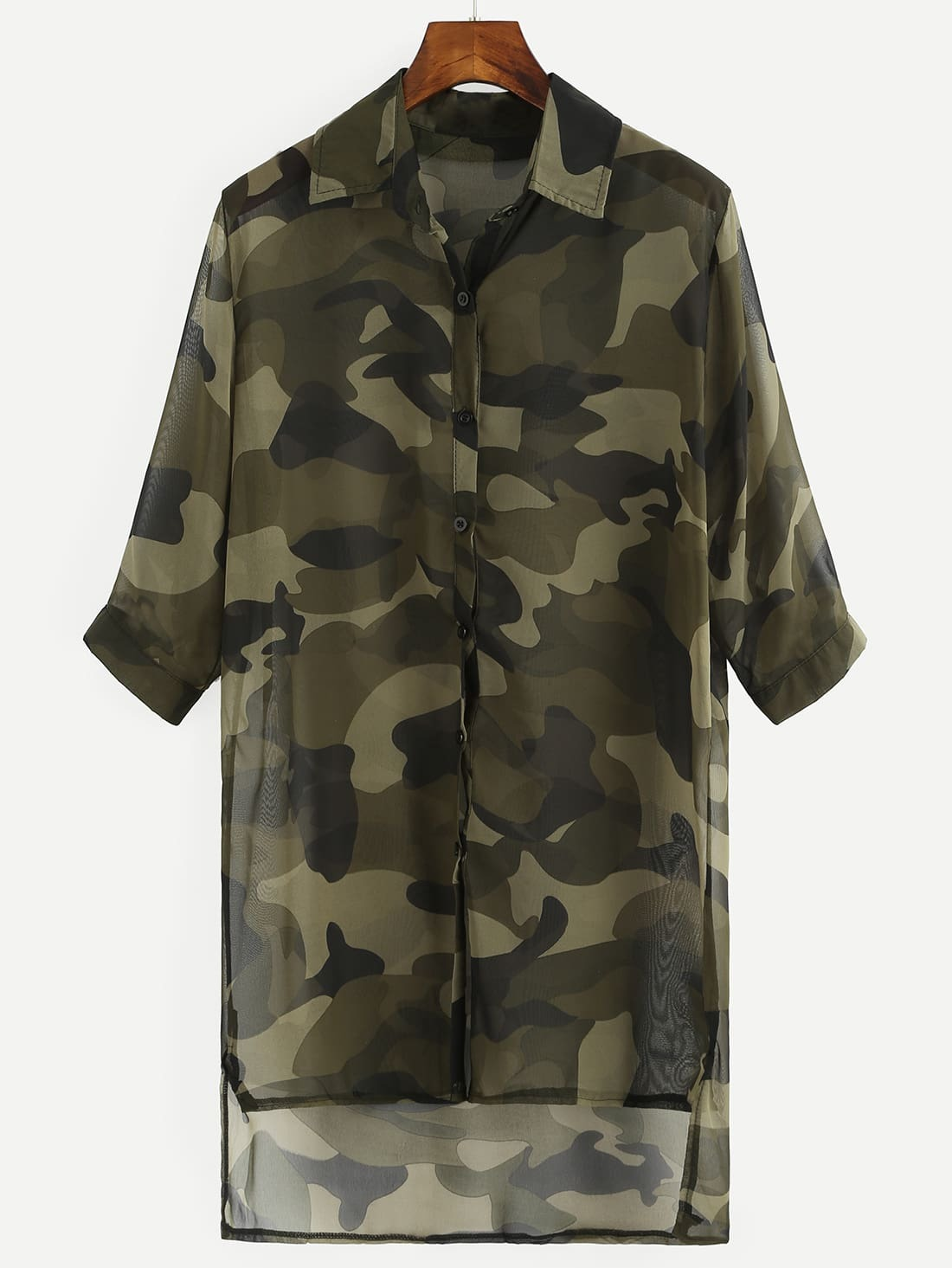 Olive Green Camo Print High-Low Chiffon BlouseOlive Green Camo Print High-Low Chiffon Blouse<br><br>color: Green<br>size: one-size