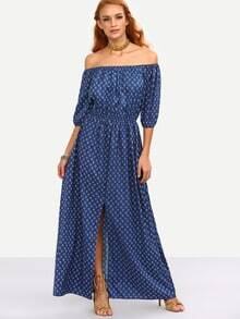 Off-The-Shoulder Slit Front Printed Dress - Blue