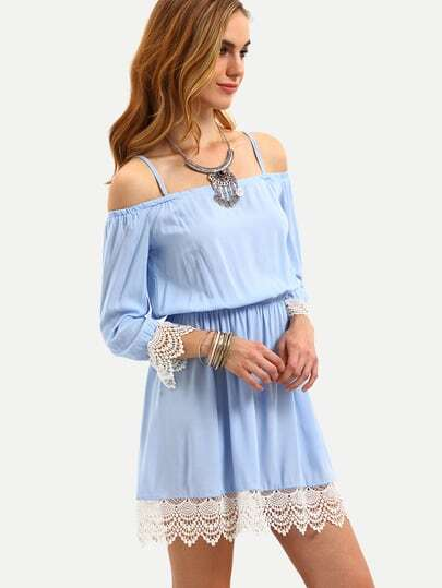 Lace Trimmed Cold Shoulder Dress - Light Blue