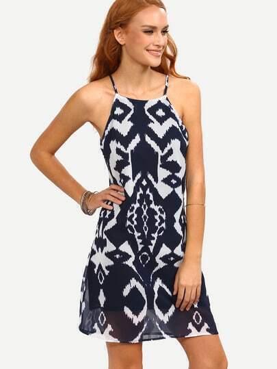 Keyhole Back Tie Dye Print Cami Dress - Navy
