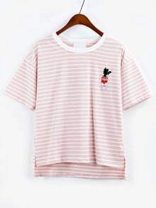 Cactus Embroidered Striped High-Low T-shirt - Pink