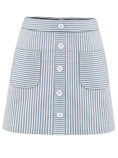Buttoned Pocket Front Striped A-Line Skirt - Blue