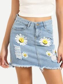 Daisy Print Ripped Raw Hem Blue Denim Skirt