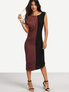 Color Block Ruched Asymmetric Sleeve Dress