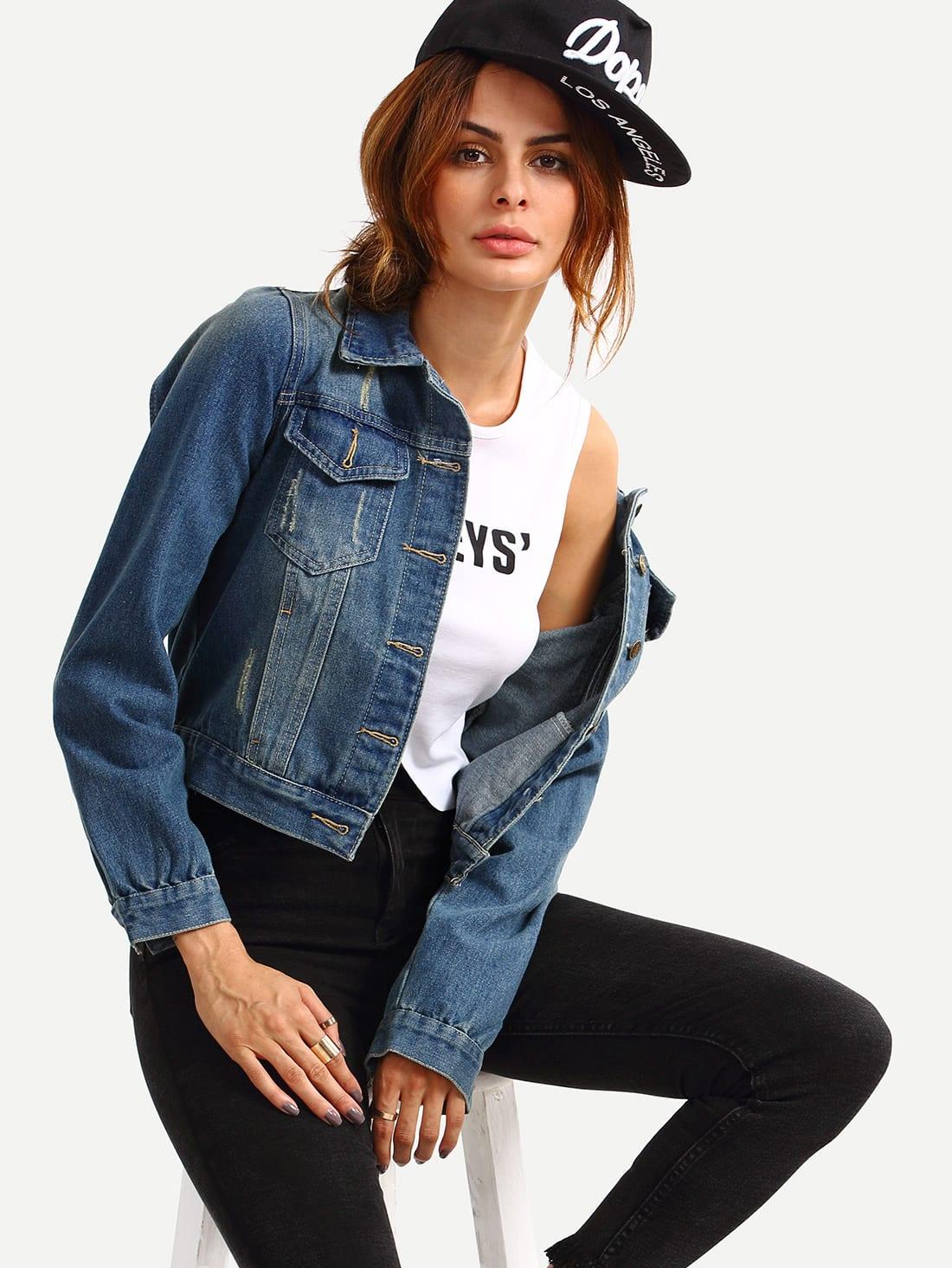 Купить со скидкой Dual Flap Stone Wash Blue Denim Jacket